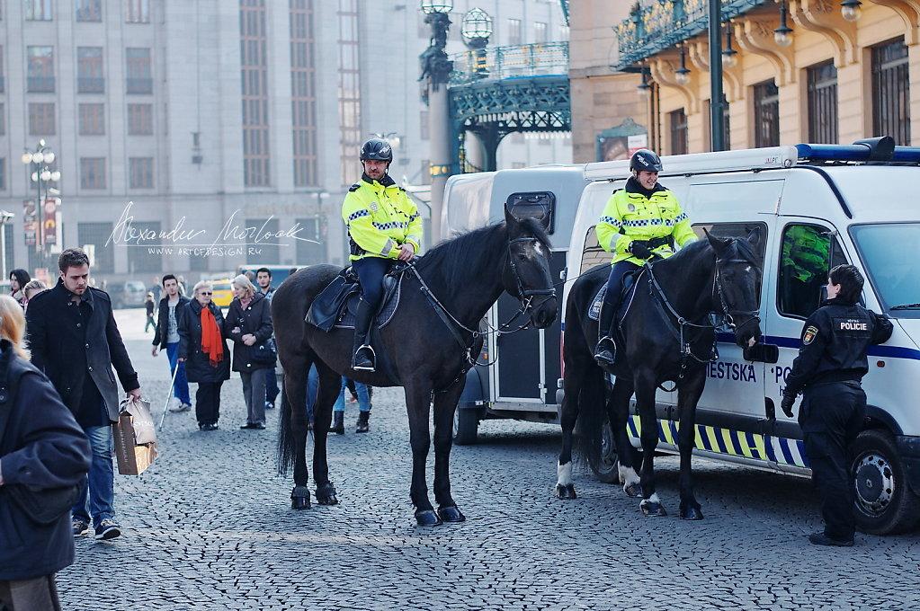 Horse police in Prague