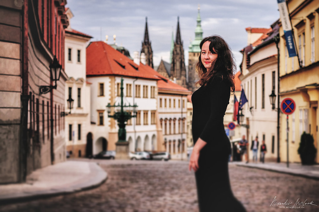 A woman in Prague. Old Town